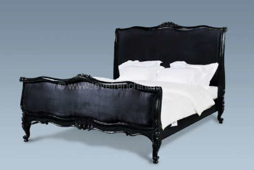 Upholstered French Bed in Noir Black